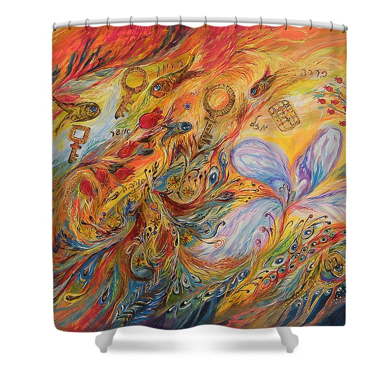 Original Shower Curtain featuring the painting The Levitation by Elena Kotliarker