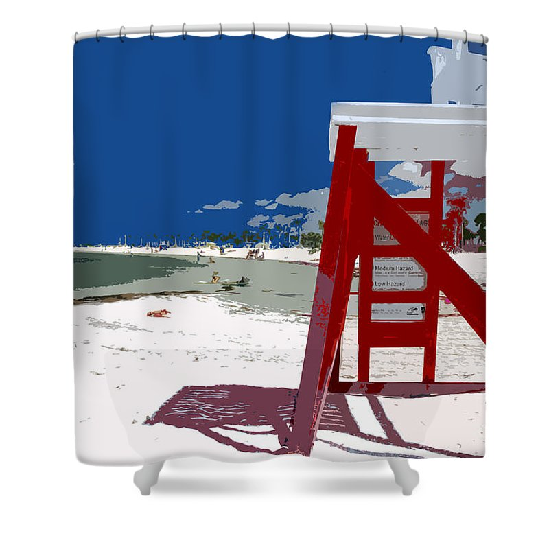 Lifeguard Stand Shower Curtain featuring the painting The Lifeguard Stand by David Lee Thompson