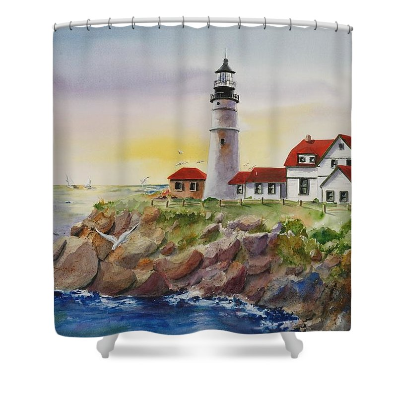 Lighthouse Shower Curtain featuring the painting The Light At Portland Head by Kate Wyman