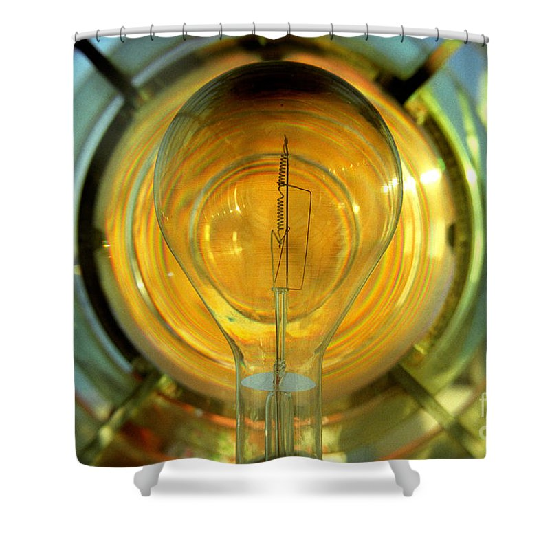 Bulb Shower Curtain Featuring The Photograph The Light Bulb Inside The  Fresnel Of A Lighthouse By