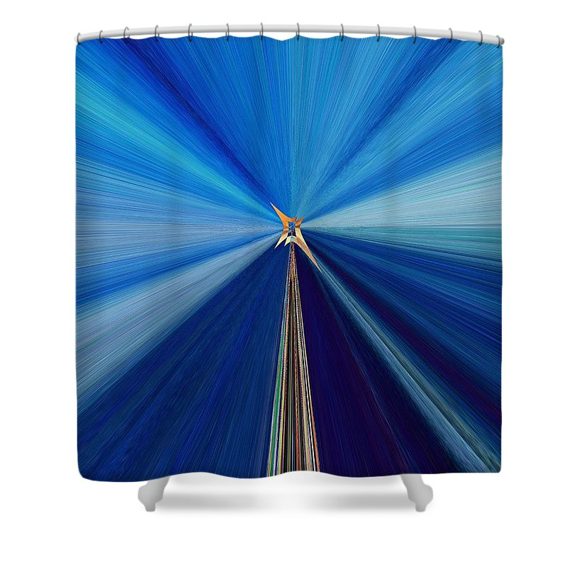 Abstract Shower Curtain featuring the digital art The Light Fantastic Speedway by Tim Allen