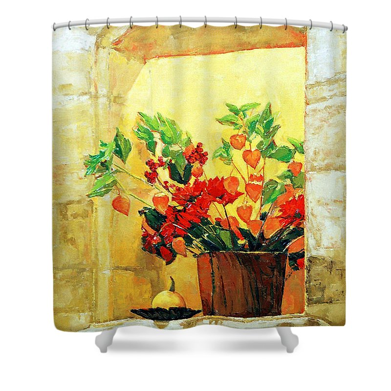 Still Life Shower Curtain featuring the painting The Light by Iliyan Bozhanov