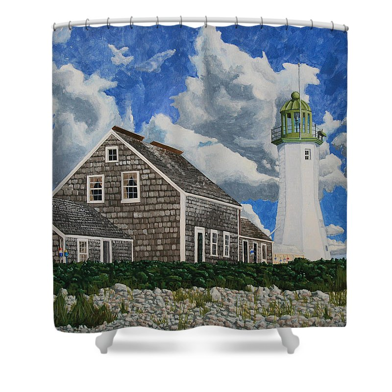 Lighthouse Shower Curtain featuring the painting The Light Keeper's House by Dominic White