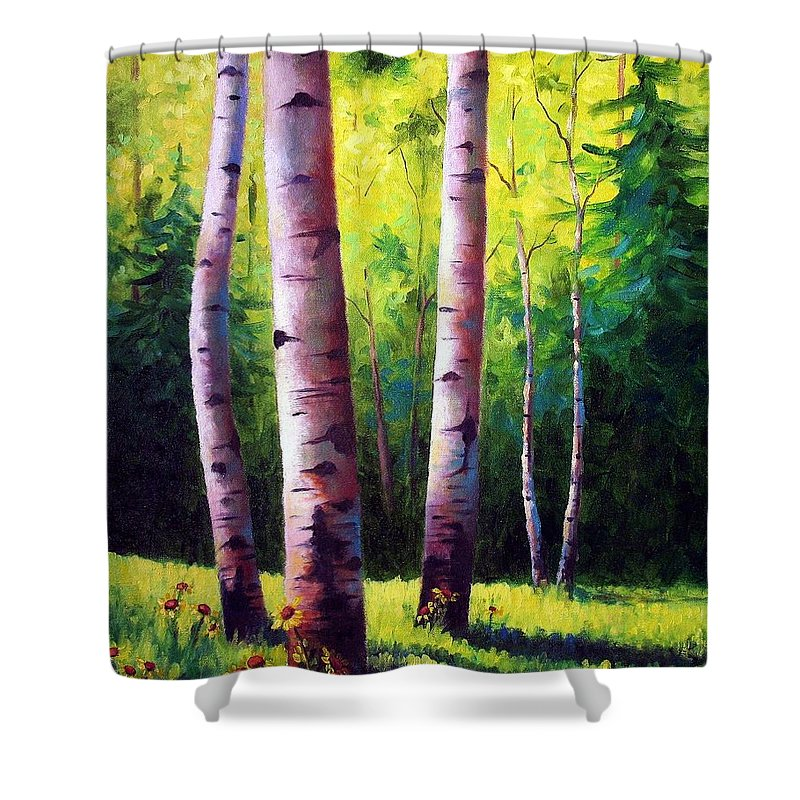 Aspen Shower Curtain featuring the painting The Light Of Spring by David G Paul