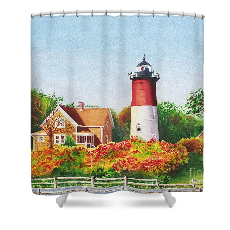 Lighthouse Shower Curtain featuring the painting The Lighthouse by Karen Fleschler
