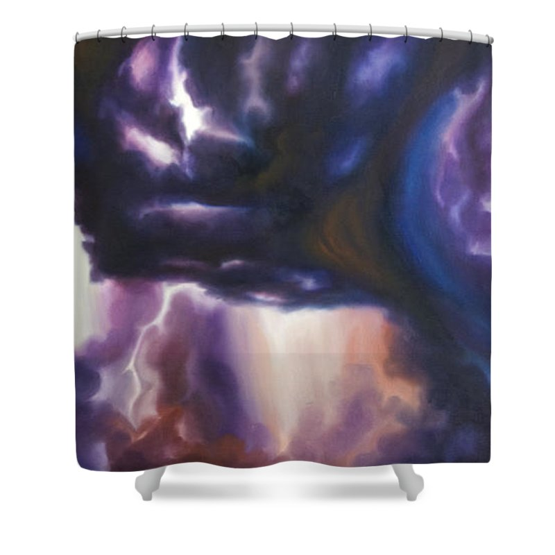Tempest Shower Curtain featuring the painting The Lightning by James Christopher Hill