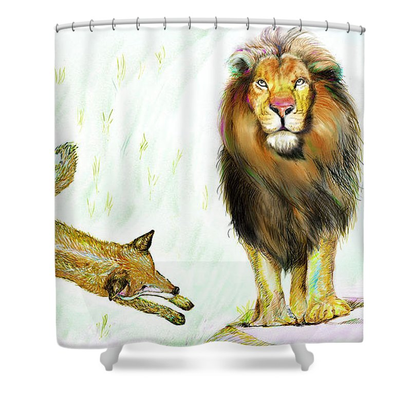 Lion Shower Curtain featuring the painting The Lion And The Fox 2 - The True Friendship by Sukalya Chearanantana