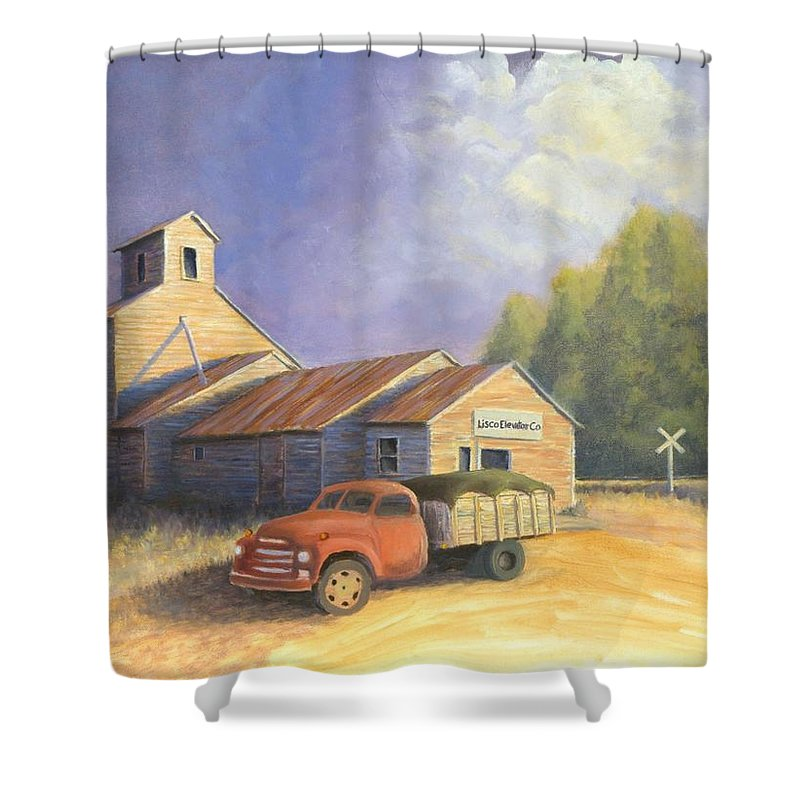 Nebraska Shower Curtain featuring the painting The Lisco Elevator by Jerry McElroy