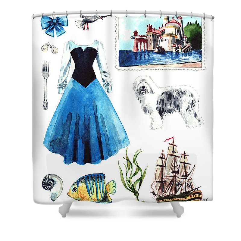 Little Mermaid Shower Curtain Featuring The Painting Ariel Collage Disney By Laura Row