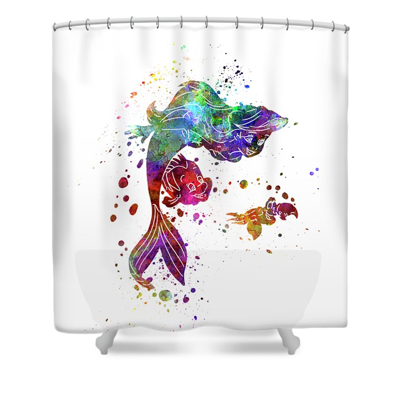 The Little Mermaid Watercolor Art Shower Curtain For Sale By Pablo Romero