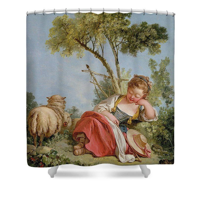 Shepherdess Shower Curtain featuring the painting The Little Shepherdess by Francois Boucher