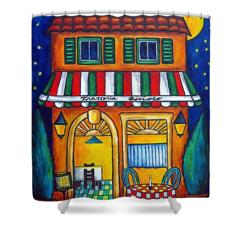 Blue Shower Curtain featuring the painting The Little Trattoria by Lisa Lorenz