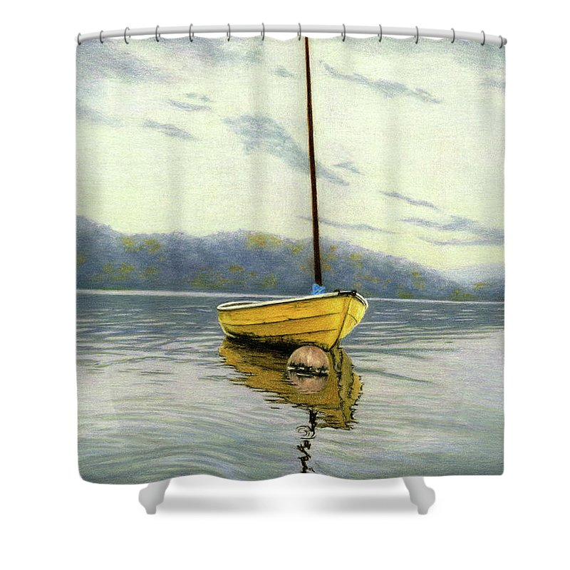 Yellow Boat Shower Curtain Featuring The Painting Sailboat By Sarah Batalka