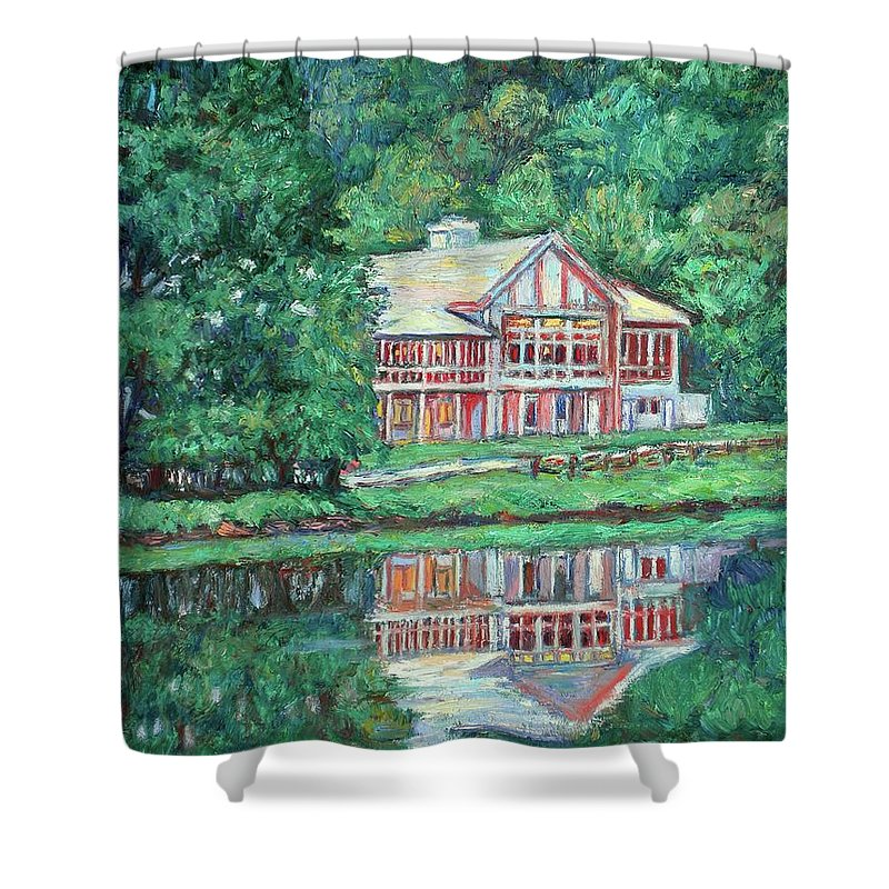 Lodge Paintings Shower Curtain featuring the painting The Lodge At Peaks Of Otter by Kendall Kessler