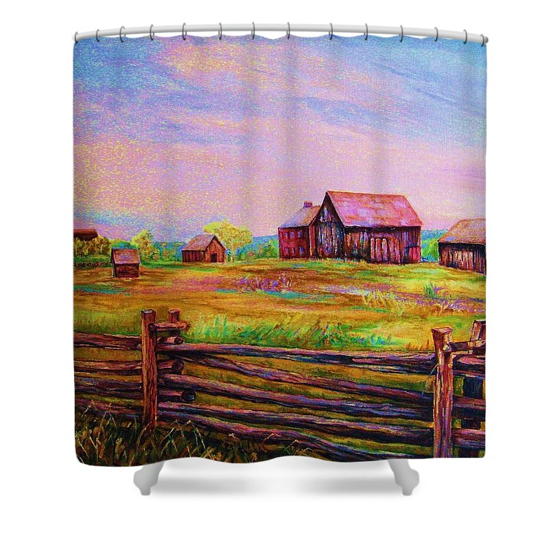 Ranches Shower Curtain featuring the painting The Log Fence by Carole Spandau