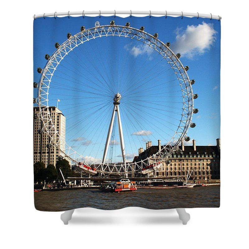 London Eye Shower Curtain featuring the photograph The London Eye 2 by Chris Day