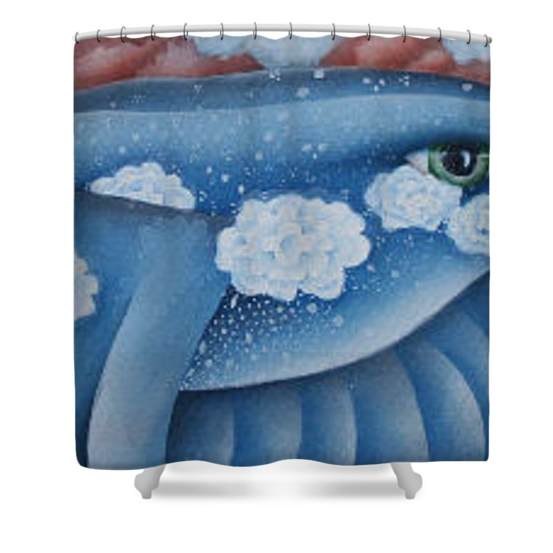 Bluebird Shower Curtain featuring the greeting card The Lone Bluebird by Jeniffer Stapher-Thomas
