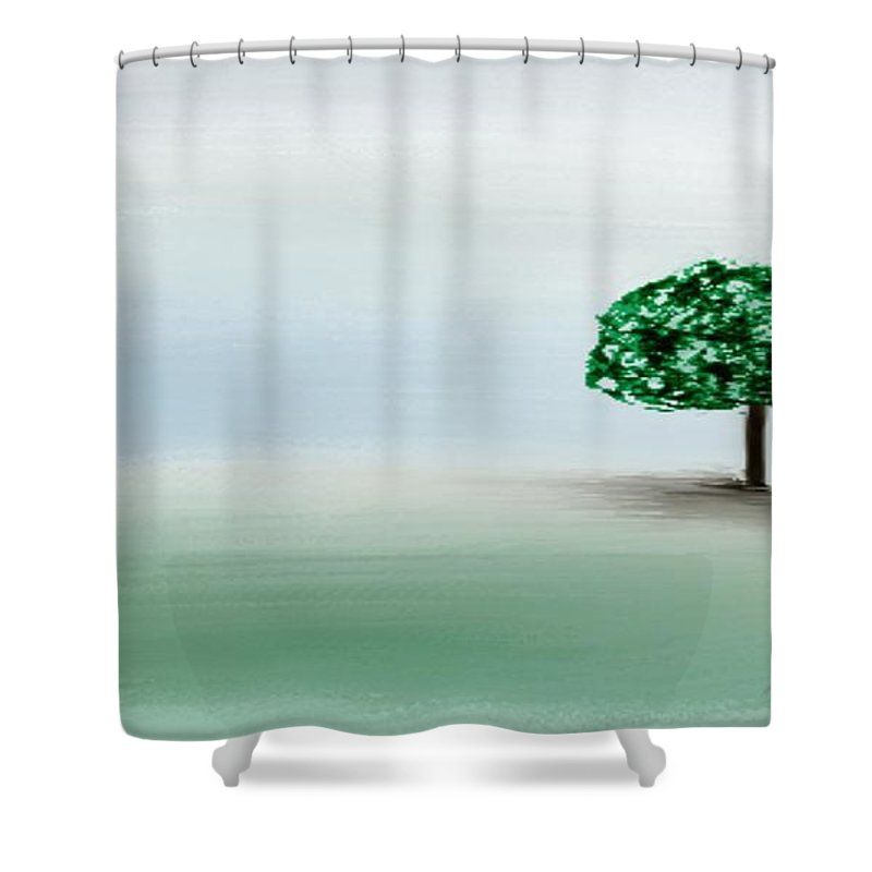 Custom Shower Curtain featuring the painting The Lone Tree by Gina Lee Manley
