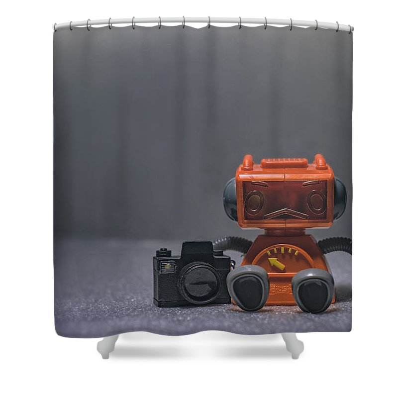 Toy Robot Shower Curtain Featuring The Photograph Lonely Photographer By Scott Norris