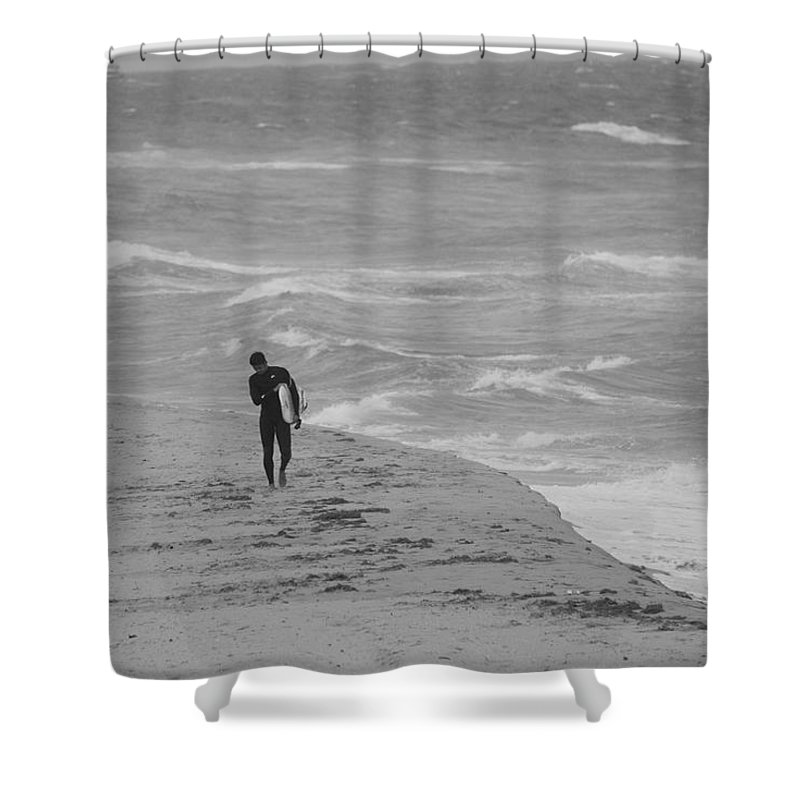 Black And White Shower Curtain featuring the photograph The Lonely Surfer Dude by Rob Hans