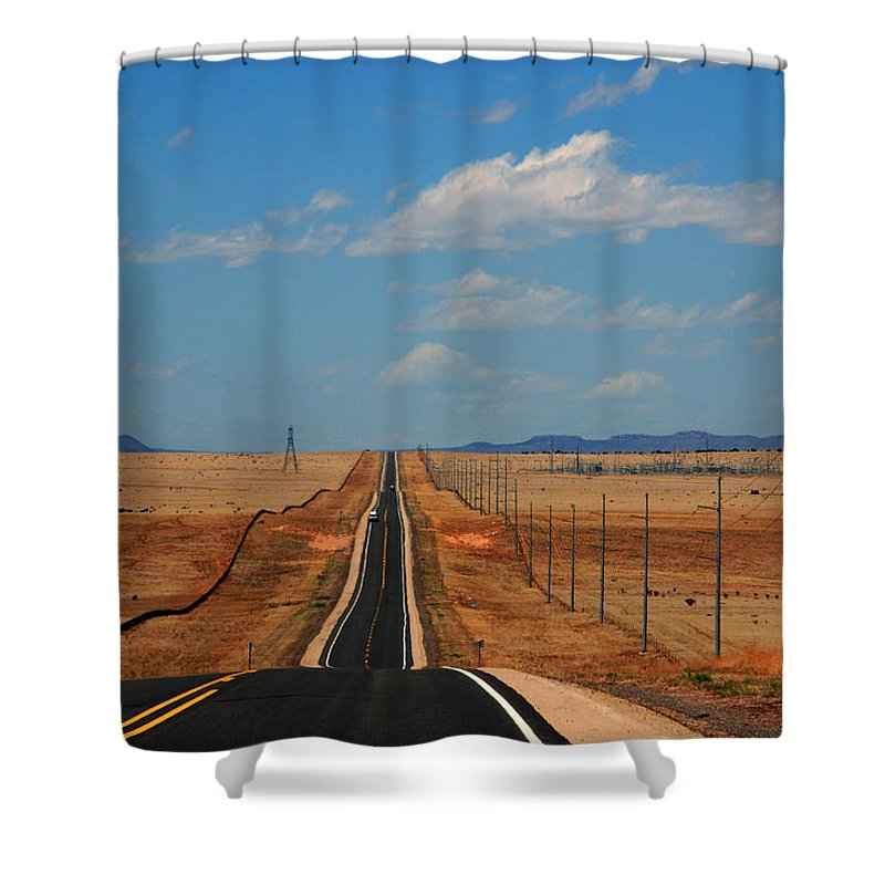 Long Road Shower Curtain featuring the photograph The long road to Santa Fe by Susanne Van Hulst
