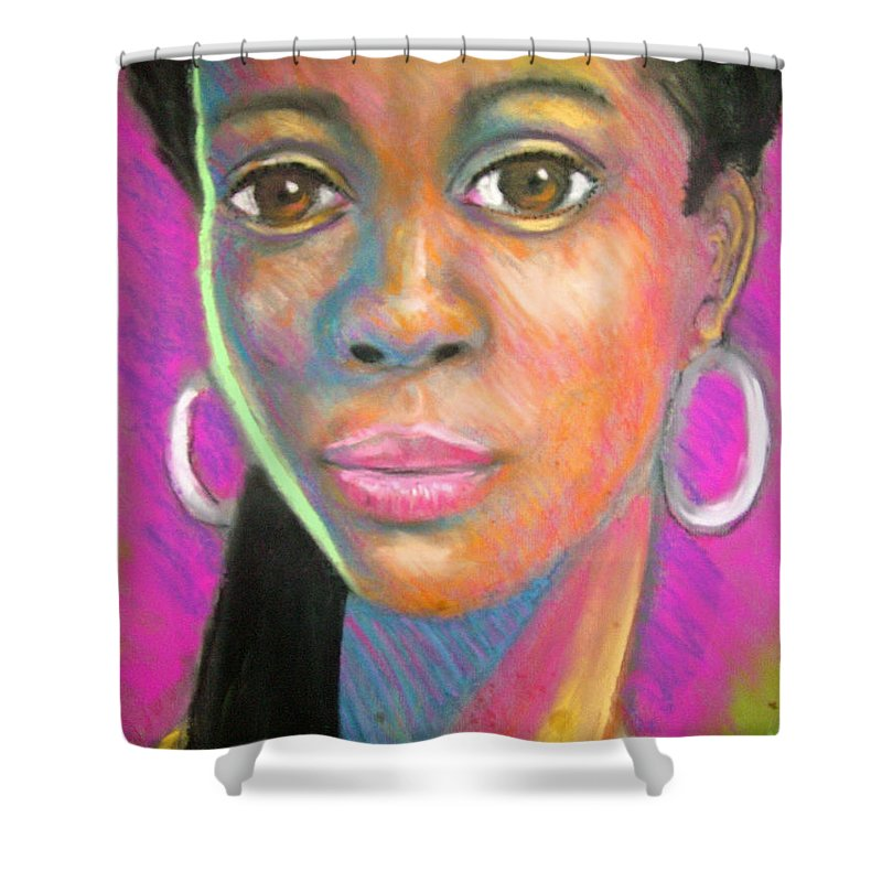 Portrait Shower Curtain featuring the drawing The Look by Jan Gilmore
