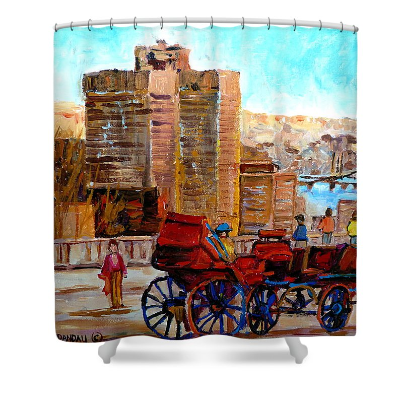 Montreal Street Scene Shower Curtain featuring the painting The Lookout On Mount Royal Montreal by Carole Spandau