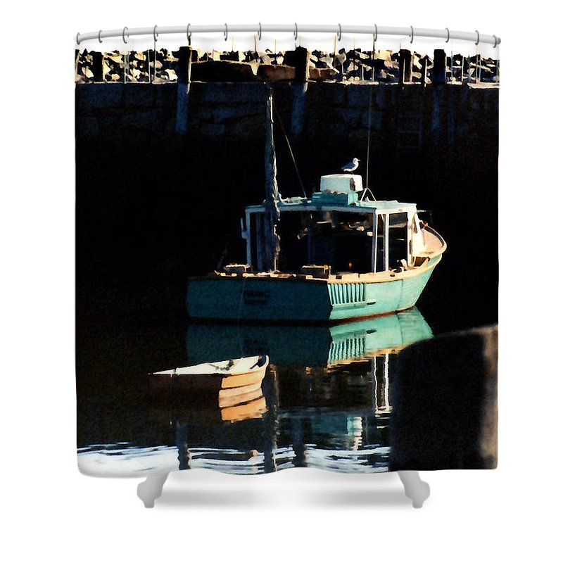 Boat Shower Curtain featuring the painting The Lookout by Paul Sachtleben