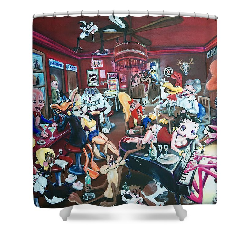Looney Tunes Shower Curtain Featuring The Painting Hangover By Charlotte Oedekoven