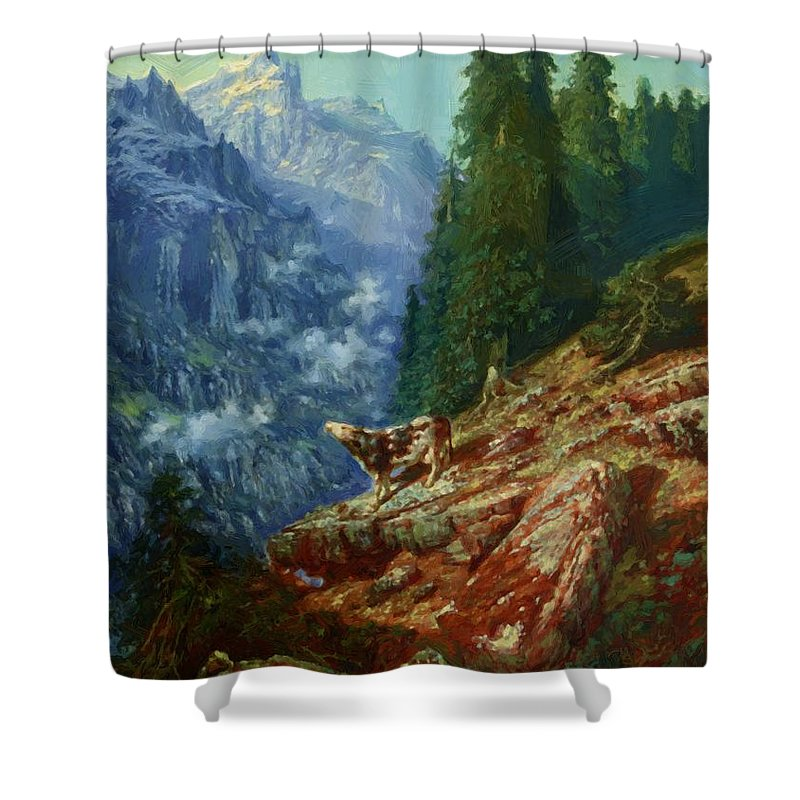The Shower Curtain featuring the painting The Lost Cow 1852 by Dore Gustave