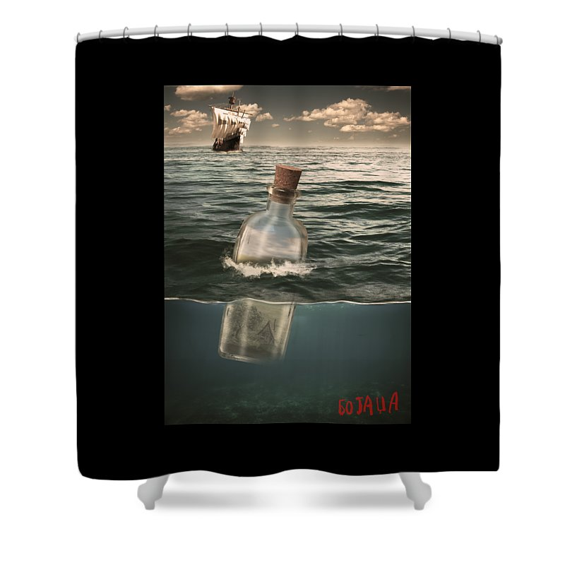 Sea Shower Curtain featuring the digital art The Lost World In A Bottle by Zoran Bojadza Bojovic