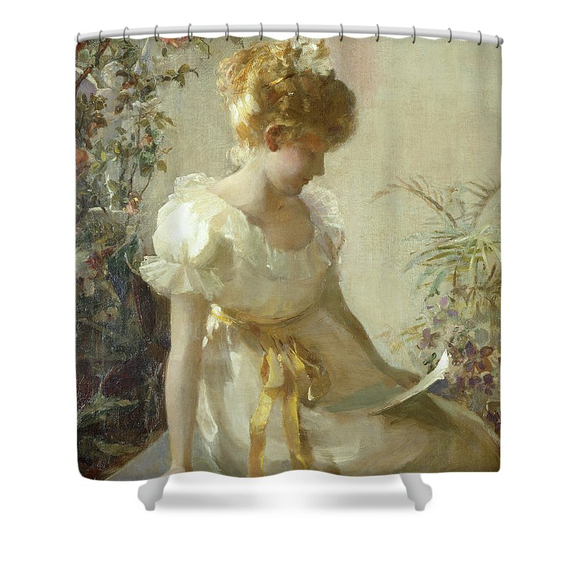 The Love Letter (oil On Canvas) By Jessie Elliot Gorst (fl.1889-99) Shower Curtain featuring the painting The Love Letter by Jessie Elliot Gorst