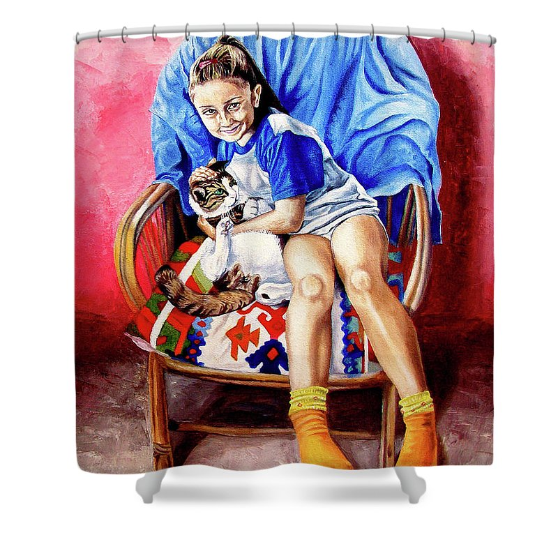 Kid Shower Curtain featuring the painting The Loyalty - La Fidelidad by Rezzan Erguvan-Onal