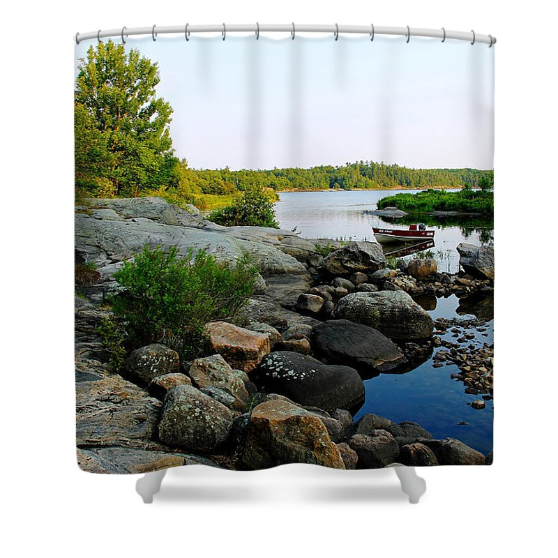 Boat Shower Curtain featuring the photograph The Lund by Debbie Oppermann