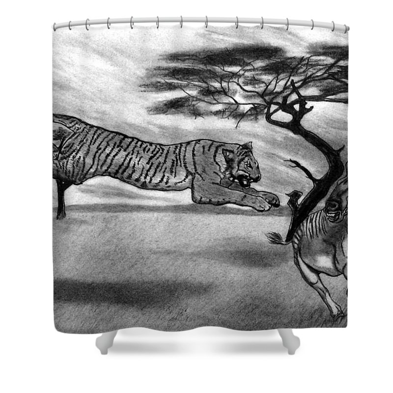 The Lunge Shower Curtain featuring the drawing The Lunge by Peter Piatt