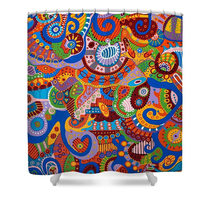 Abstract Art Shower Curtain featuring the painting The Machine by Erika Avery