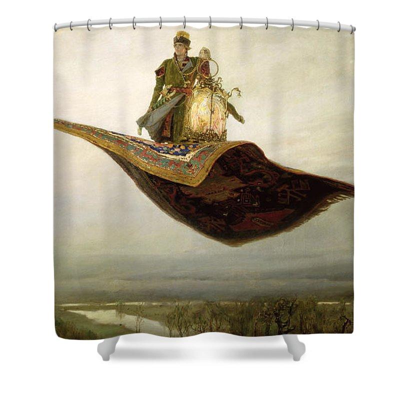Magical Shower Curtain featuring the painting The Magic Carpet by Apollinari Mikhailovich Vasnetsov
