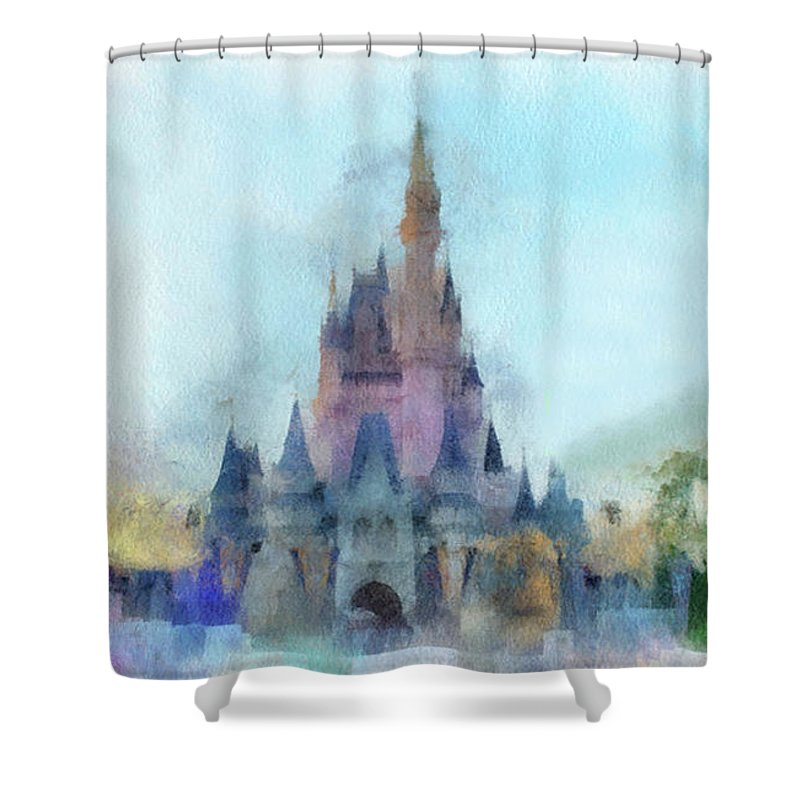 Castle Shower Curtain featuring the photograph The Magic Kingdom Castle Wdw 05 Photo Art by Thomas Woolworth
