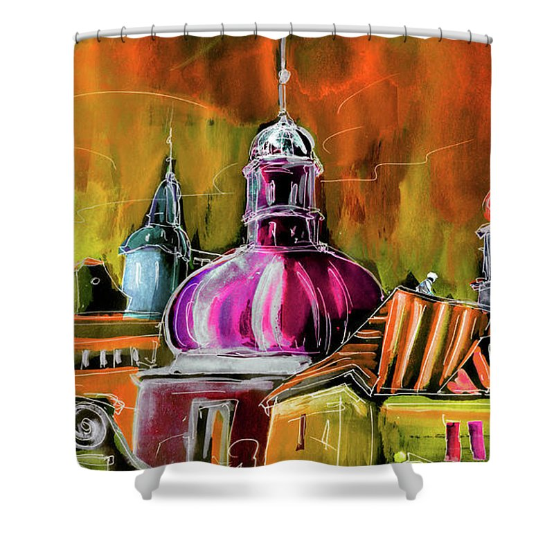 Travel Sketch Shower Curtain featuring the painting The Magical Rooftops Of Prague 01 by Miki De Goodaboom