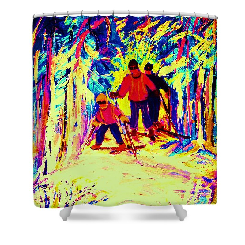 Skis Shower Curtain featuring the painting The Magical Skis by Carole Spandau