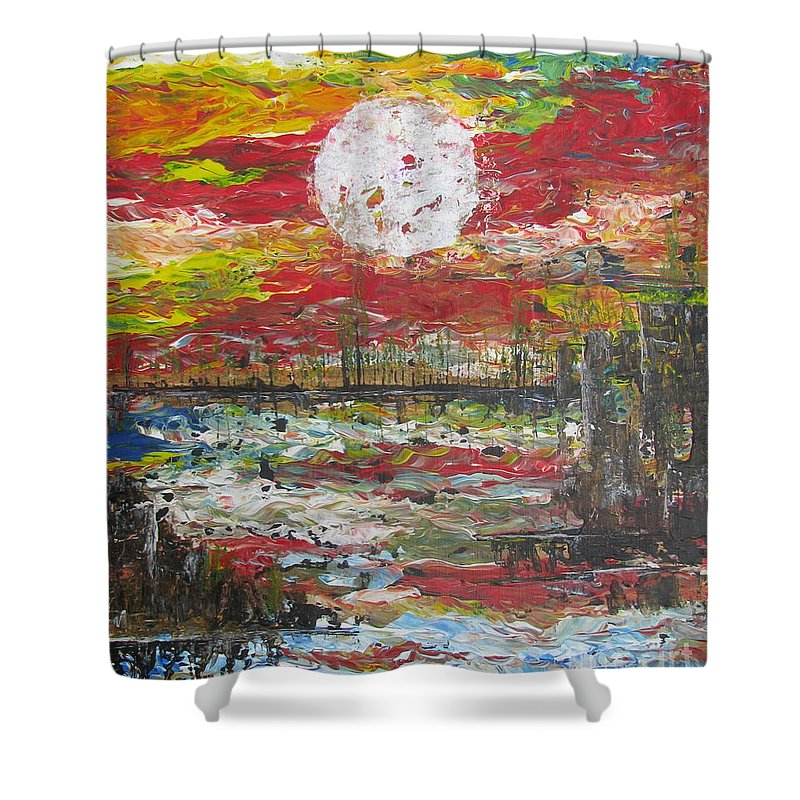 Nature Shower Curtain featuring the painting The Man And The Moon by Jacqueline Athmann