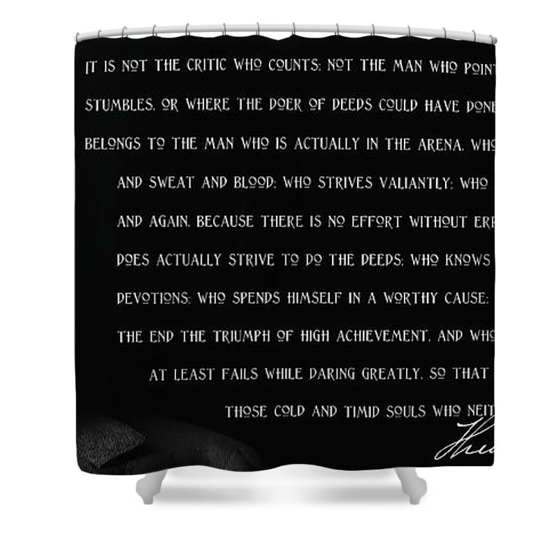 The Man In Arena Shower Curtain Featuring Mixed Media