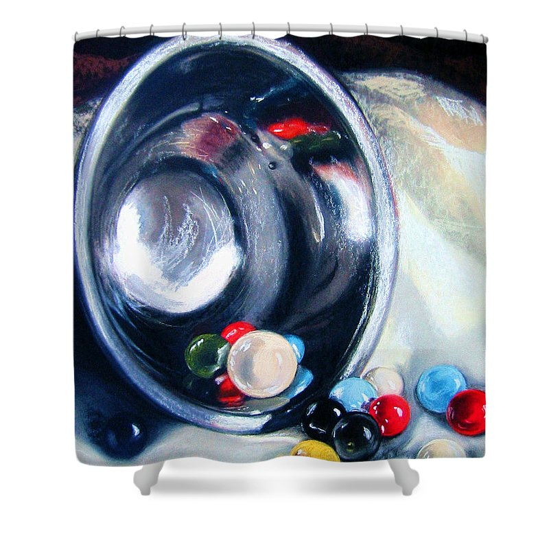 Marbles Shower Curtain featuring the pastel The Marble Bowl by Leyla Munteanu