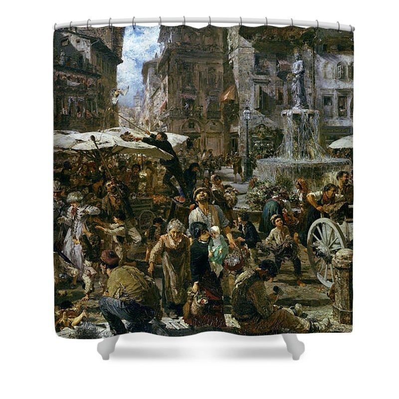 The Shower Curtain featuring the painting The Market Of Verona by Adolph Friedrich Erdmann von Menzel