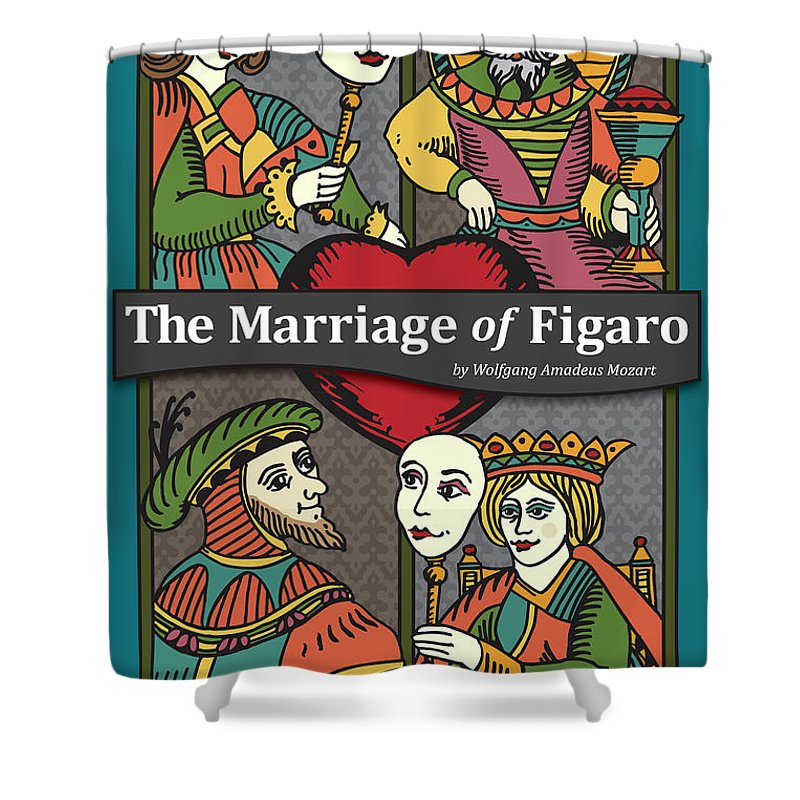 Mozart Shower Curtain featuring the digital art The Marriage Of Figaro by Joe Barsin