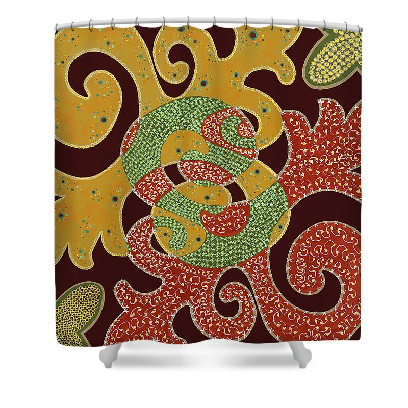 Abstract Shower Curtain featuring the painting The Marvel by Louise Hankes