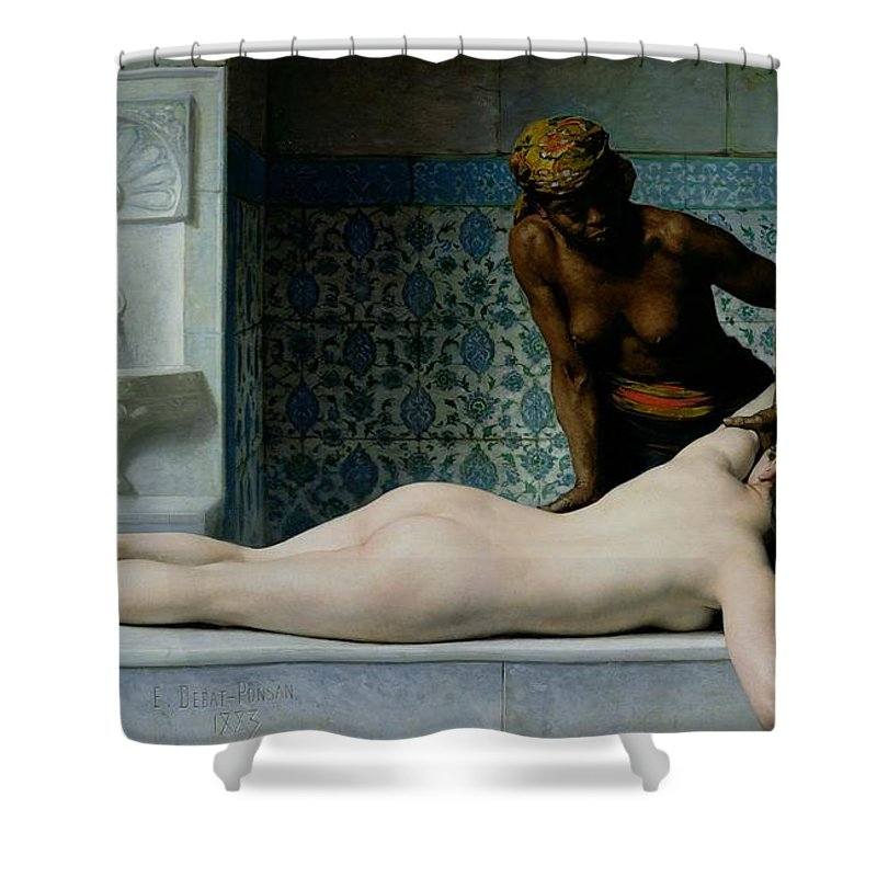 The Shower Curtain featuring the painting The Massage by Edouard Debat-Ponsan