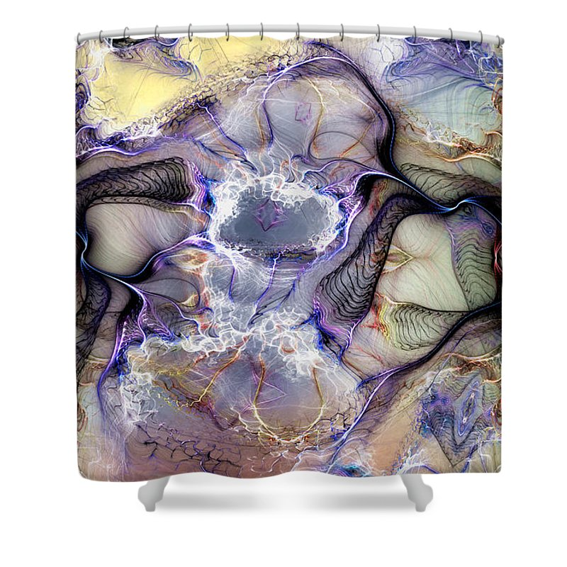 Abstract Shower Curtain featuring the digital art The Matrix Reestablished by Casey Kotas