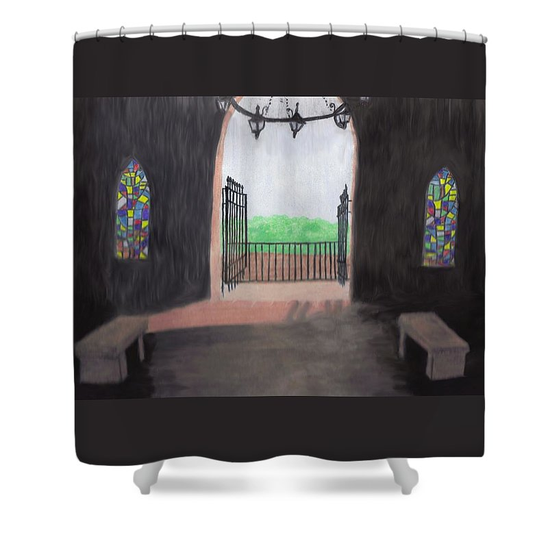 Mausoleum Shower Curtain featuring the drawing The Mausoleum by Jean Haynes