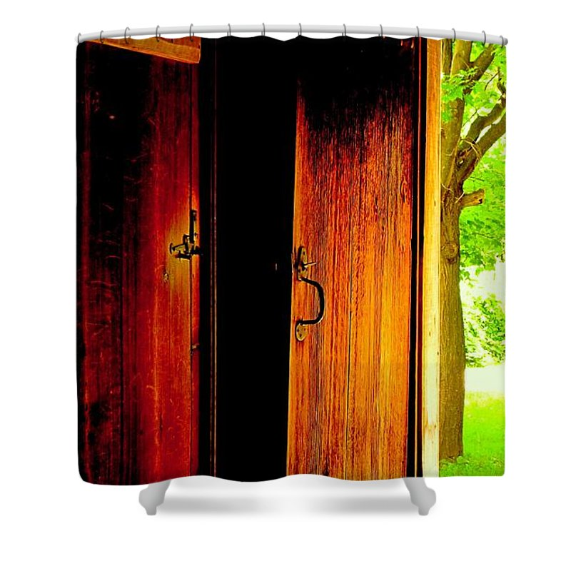 Wood Shower Curtain featuring the photograph The Meeting House Door by Ian MacDonald